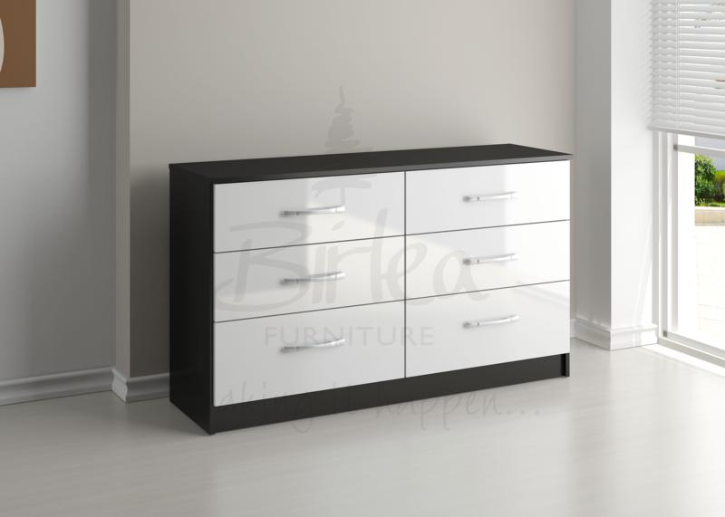 BIRLEA Lynx Black and White High Gloss 6 Drawer Wide